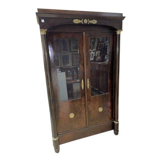 Antique French Empire Two Door Cabinet For Sale