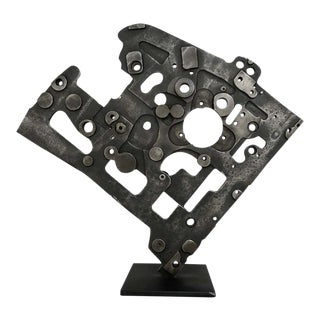 Machine Age Looking Abstract Steel Sculpture For Sale