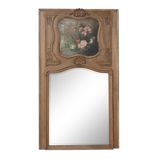 19th Century Country French Antique Stripped Trumeau Mirror For Sale