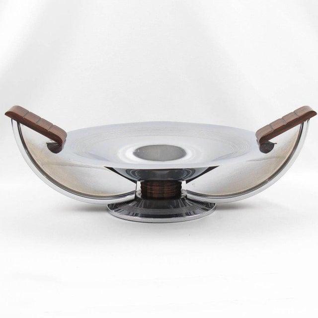 French Massabova Art Deco Chrome Macassar Centerpiece Bowl - Image 8 of 11