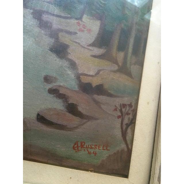 1940's Primitive Landscape Painting - Image 4 of 6