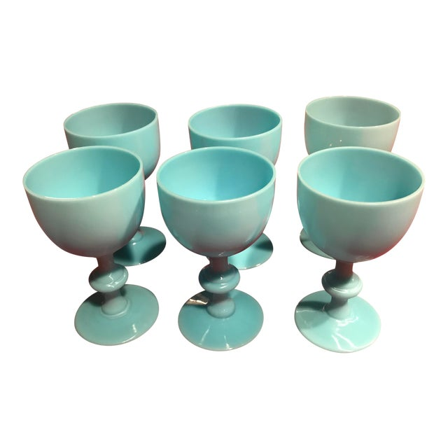 1900s Portieux Vallerysthal French Blue Opaline Glassware - Set of 6 For Sale