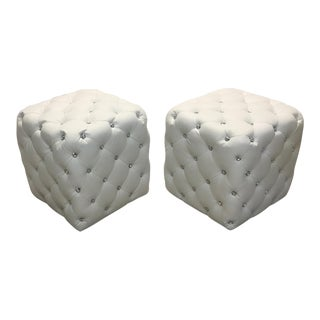 20th Century Modern Bonded Leather Faux Jewel Tufted Ottomans - a Pair