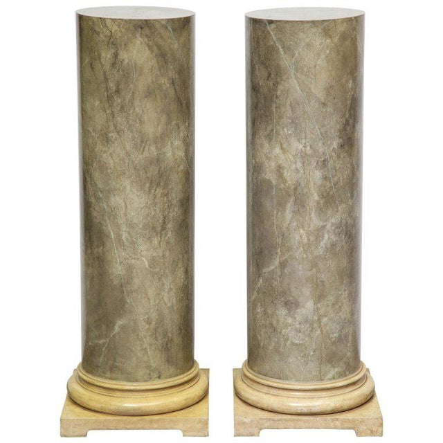 White 1980s Faux Marbleized Pedestals - a Pair For Sale - Image 8 of 8