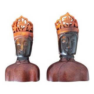 Chinese Ox Horn Buddha Head Figures - a Pair For Sale