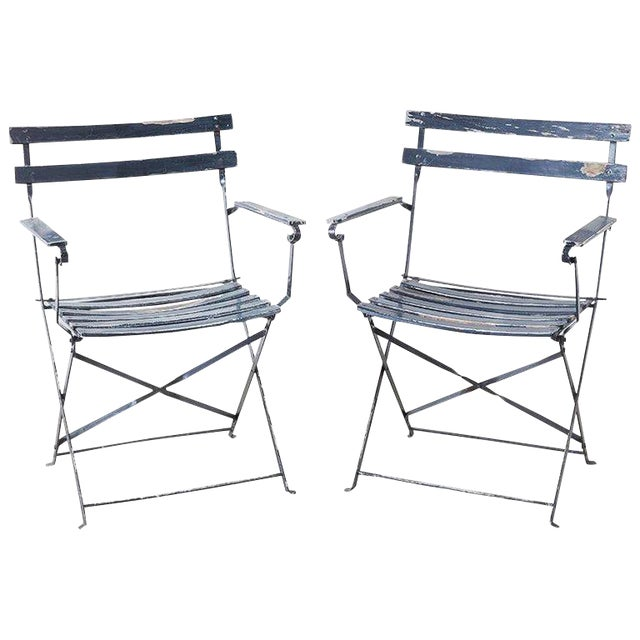 Swell Pair Of French Folding Slated Garden Chairs Caraccident5 Cool Chair Designs And Ideas Caraccident5Info