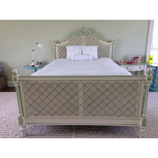 Offered is this lovely hand painted queen size bed by Julia Gray. Features cane headboard and footboard with detailed...