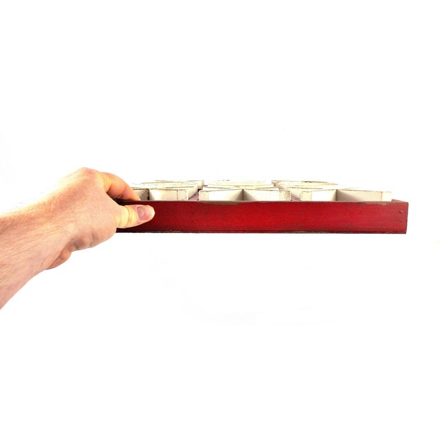 Red Rustic Wood Tic Tac Toe Game For Sale - Image 8 of 9
