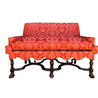 Antique Scalloped Trim Down-Filled Loveseat in Red Damask For Sale