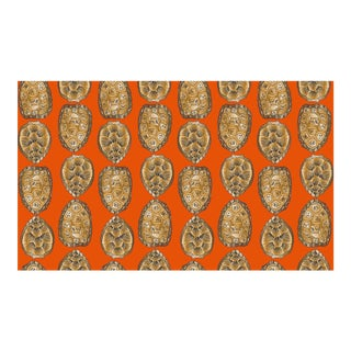 Turtle Shell Burnt Orange Linen Cotton Fabric, 3 Yards For Sale