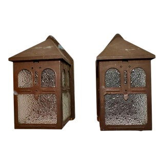 1910s Art & Craft Outdoor Sconces - a Pair For Sale