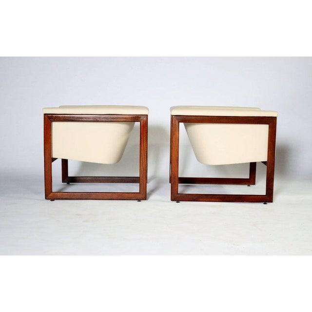 Mid-Century Modern Pair of Milo Baughman Cube Club Chairs For Sale - Image 3 of 8