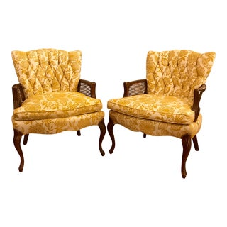 1950's Floral Club Chairs, Pair For Sale