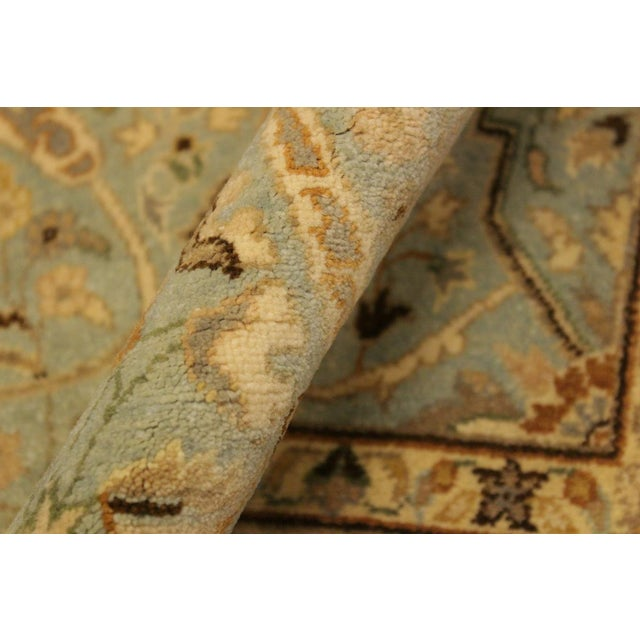 Shabby Chic Semi Antique Istanbul Ira Blue/Ivory Turkish Hand-Knotted Rug -4'0 X 5'11 For Sale - Image 3 of 8