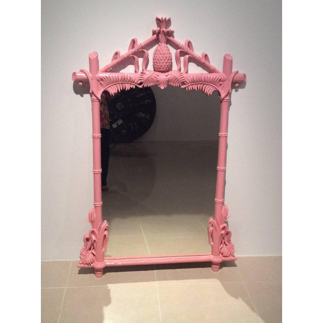 Gampel & Stoll Lacquered Flamingo Pink Faux Bamboo Wall Mirror - Image 6 of 10