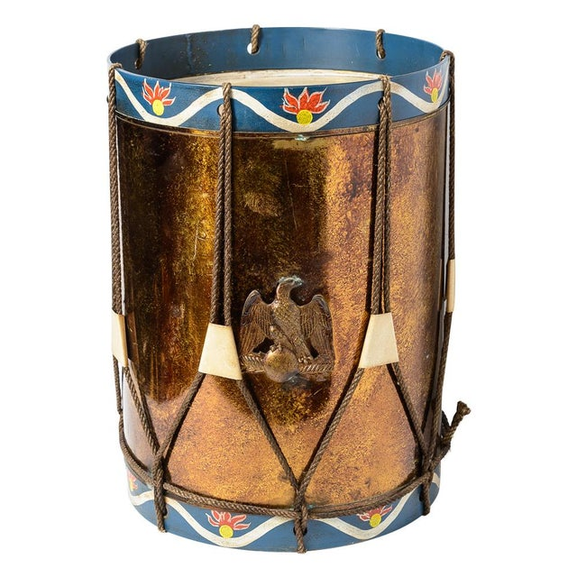 Hollywood Regency Vintage Military Eagle Tole Drum Side Table For Sale - Image 3 of 11