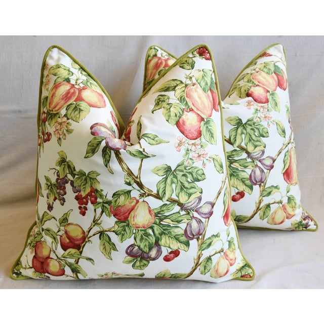 "Cotton P. Kaufmann Bountiful Fruit Feather/Down Pillows 24"" Square - Pair For Sale - Image 7 of 13"