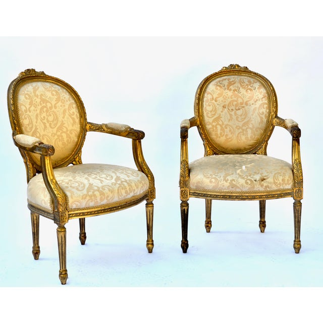 Gold Exceptional Louis XVI Style Gilt Fauteuils Armchairs - a Pair For Sale - Image 8 of 8