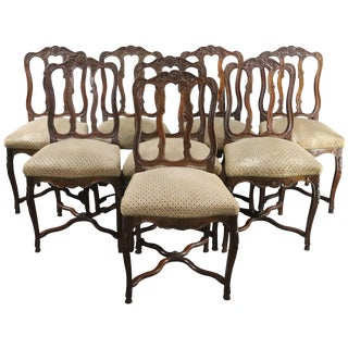 Dining Chairs Louis XV Rococo Sage Mauve - Set of 8 For Sale