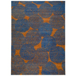 Tobacco and Indigo Blue Wool Rug With Dandelion Motif by Carini - 10′ × 14′ For Sale
