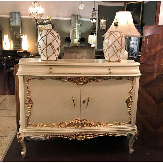Parcel-Gilt and Paint Decorated Two-Drawer and Two-Door Louis XV Style Cabinet For Sale - Image 12 of 13