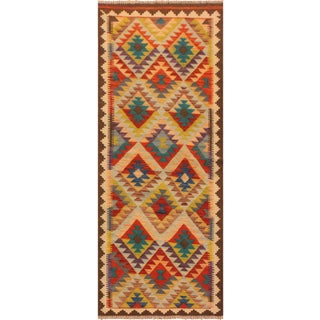 Kilim Arya Morwenna Brown/Gray Wool Rug -2'8 X 6'9 For Sale