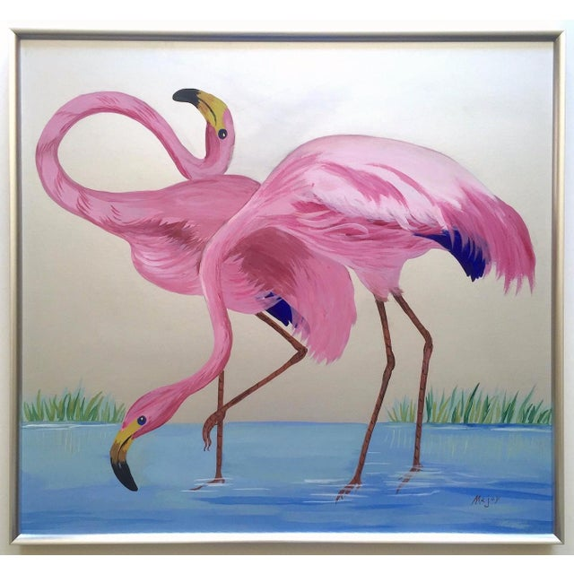 """Rare Vintage 1950s Art Deco """" Pink Flamingos in Lagoon """" Framed Original Fine Art Gouache Painting on Board For Sale - Image 13 of 13"""