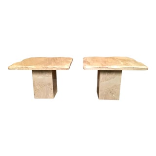 1980 Sculpted Travertine End Tables - a Pair For Sale