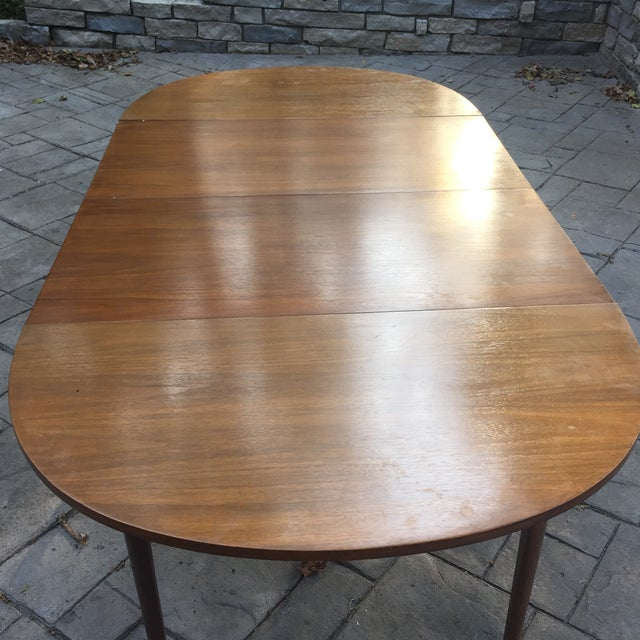 Walnut Mid Century Modern Dining Table With Two Leafs - Image 7 of 11