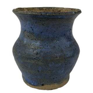 Rustic Blue Clay Vase
