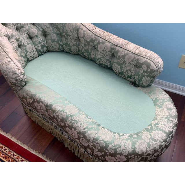 Antique Silk Upholstery Chaise For Sale - Image 9 of 12