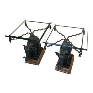 Figurative Maitland Smith Glass Top/Bronze Base Elephant Side Tables - a Pair For Sale