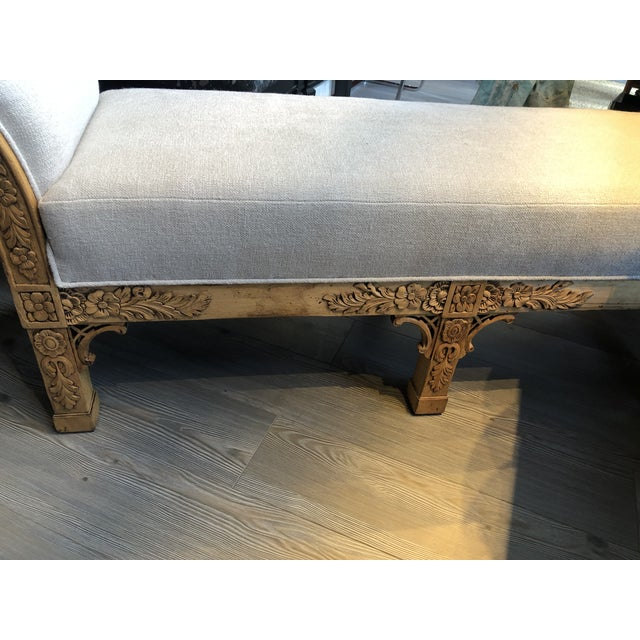 Wood Asian Carved Wood Upholstered Bench For Sale - Image 7 of 10
