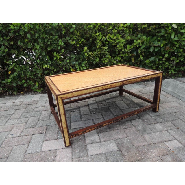 Wood Faux Tortoise Bamboo and Rattan Coffee Table For Sale - Image 7 of 10