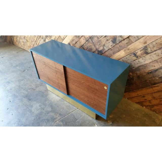 Vintage Custom Blue Lacquer Brass Credenza - Image 4 of 6