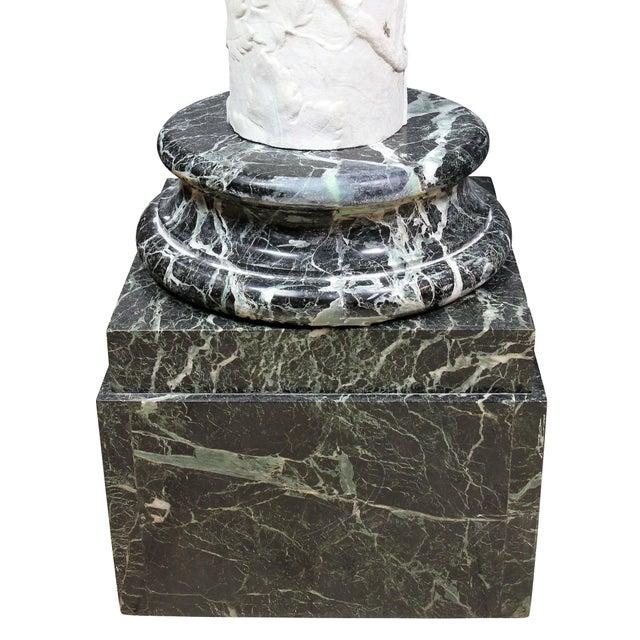 Italian Carrara and Antico Verde Marble Column For Sale - Image 9 of 10