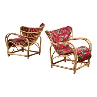 Pair of Bamboo and Rattan Lounge Chairs, Sweden, 1940s For Sale