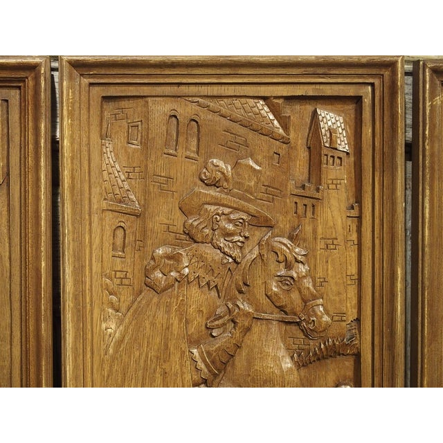Set of Three Bas Relief Carved Belgian Panels, Circa 1930 For Sale - Image 9 of 13