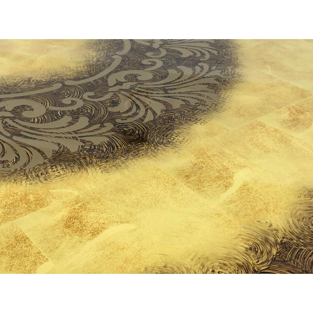 Gold Vintage Circular Coffee Table in Gold Finish For Sale - Image 8 of 13