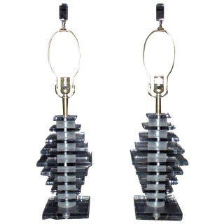 Stacked Lucite Lamps Karl Springer Style Lamps - a Pair For Sale