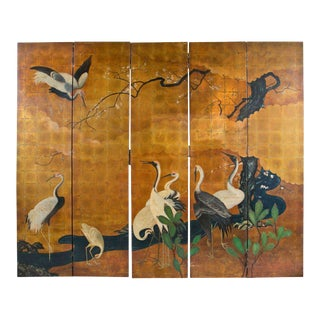 Hand Painted Japanese Screen For Sale