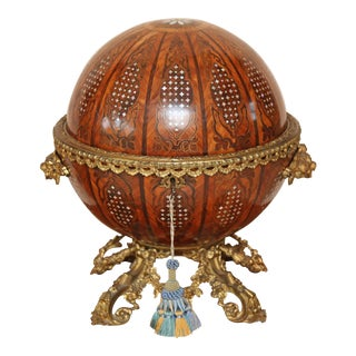 19th Century Continental Globular Walnut and Mother of Pearl Tantalus For Sale