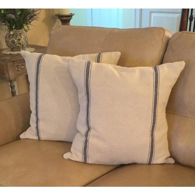 French Grain Sack Throw Pillows - Pair - Image 2 of 3