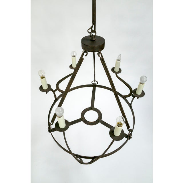 Rustic Iron Wavy Armed Chandelier For Sale In San Francisco - Image 6 of 11
