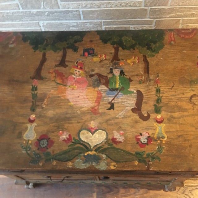 Iron Early 21st Century Dutch Folk Art Painted Oak Chest For Sale - Image 7 of 13