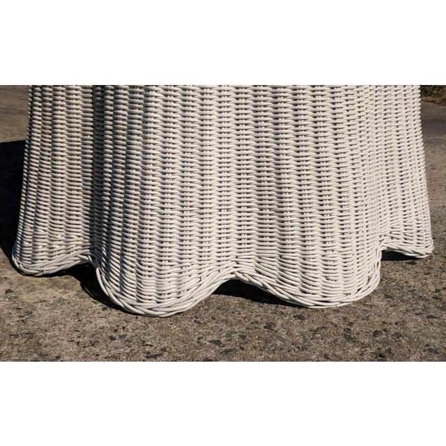 Trompe l'Oeil Draped White Wicker Rattan Ghost Table For Sale In Charlotte - Image 6 of 10