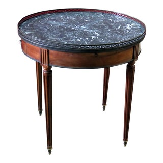 Louis XVI Style Marble Top Bouillotte Table For Sale