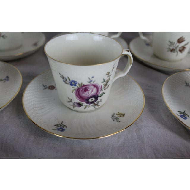 Ceramic Royal Copenhagen Cups & Saucers - Service for 12 For Sale - Image 7 of 8