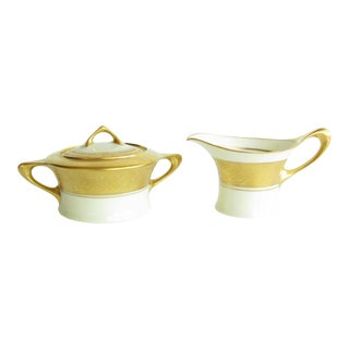 Antique Art Nouveau Hutschenreuther Cacilie Gilded Porcelain Creamer and Sugar Bowl - a Pair For Sale