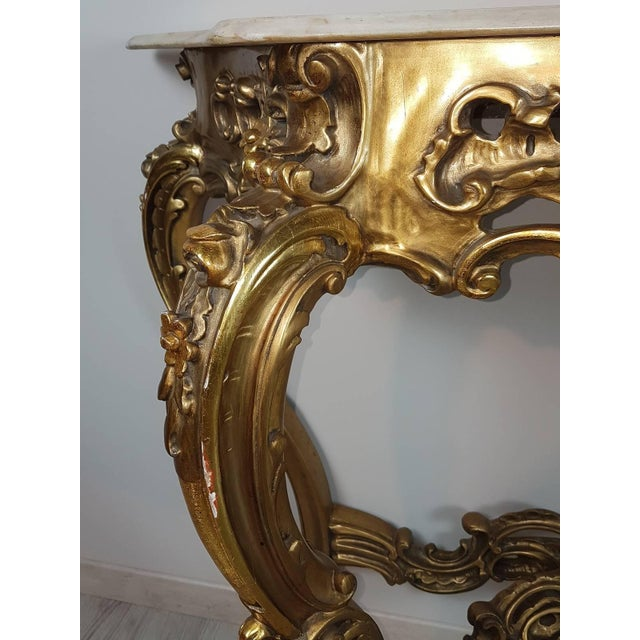 1940s 20th Century Italian Baroque Style Carved and Gilded Wood Console Table For Sale - Image 5 of 11